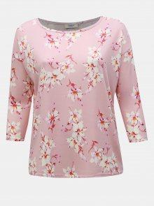 Růžové květované tričko ONLY CARMAKOMA Alba