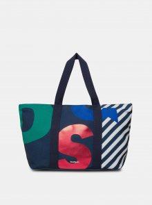 Modrá vzorovaná plážová taška Desigual Logomania
