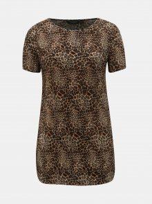 Hnědá plisovaná tunika s leopardím vzorem Dorothy Perkins Curve