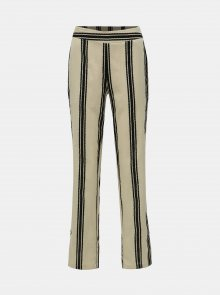 Krémové pruhované kalhoty s příměsí lnu Noisy May Elsie