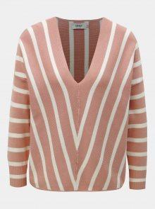 Bílo-růžový pruhovaný svetr ONLY Aya