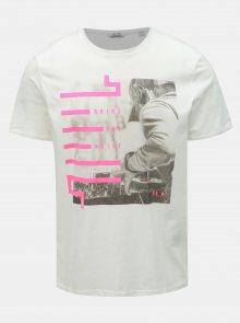 Bílé tričko s potiskem ONLY & SONS Petal