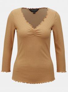 Béžové žebrované tričko s 3/4 rukávem Dorothy Perkins