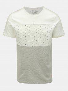 Bílé vzorované slim fit tričko Jack & Jones Tobi