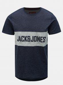 Tmavě modré tričko s potiskem Jack & Jones Poul
