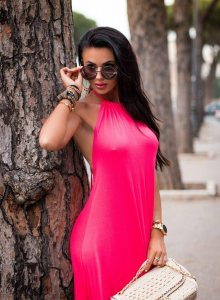 Tmavě růžové šaty MAXI BEACH/O'la Voga