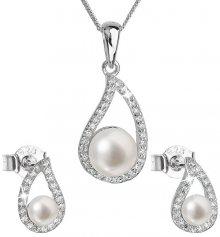 Evolution Group Luxusní stříbrná souprava s pravými perlami Pavona 29027.1 (náušnice, řetízek, přívěsek)