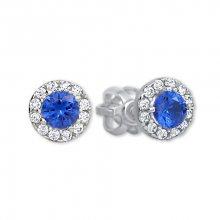 Brilio Zlaté kulaté náušnice s modrým krystalem 239 001 00806 07