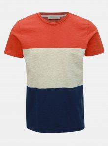 Modro-oranžové tričko Selected Homme Kiyoshi