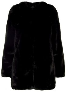 Vero Moda Dámský kabát Valli Faux Fur Jacket Black M