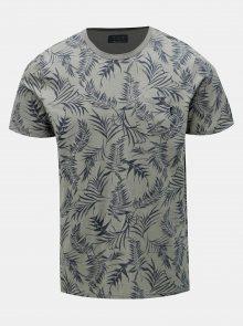 Šedé vzorované slim fit tričko s kapsou Jack & Jones Sean