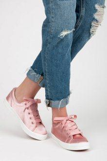 Saténové růžové tenisky s tkaničkami