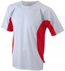 Pánské funkční tričko s krátkým rukávem JN391 - Bílá / červená | L