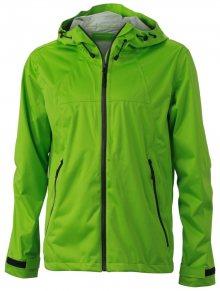 Pánská softshellová bunda s kapucí JN1098 - Jarně zelená / šedá | L