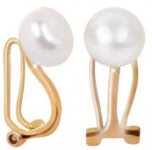 JwL Luxury Pearls Pozlacené náušnice klipsy s pravou perlou JL0399