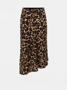 Černo-hnědá asymetrická sukně s gepardím vzorem Miss Selfridge