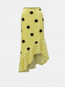 Žlutá asymetrická puntíkovaná midi sukně Miss Selfridge