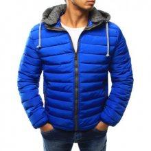 Pánská bunda prošívaná s kapucí světle modrá