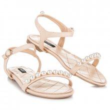 Ploché béžové sandály s korálky