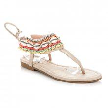 Efektivní béžové vázané sandály s etnickým vzorem