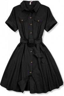 Černé krátké košilové šaty