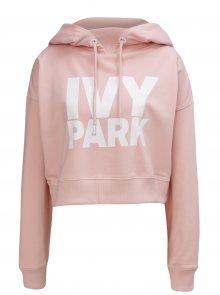 Světle růžová oversize krátká mikina s kapucí Ivy Park