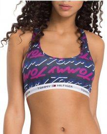 Tommy Hilfiger Dámská sportovní podprsenka Cotton Iconic Bralette Tommy Print Sodalite Blue UW0UW01257-415 M