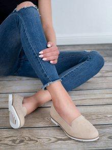 Moderní hnědé dámské  baleríny bez podpatku