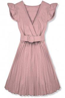 Starorůžové šaty se skládanou sukní