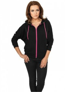 Urban Classics Ladies Bat 3/4 Sleeve Zip Hoody blk/fuc - L