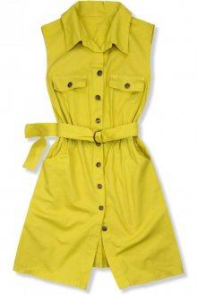 Žluté šaty s páskem