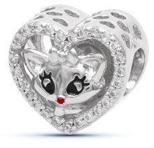 Infinity Love Srdíčkový korálek s kočičkou HSZ-1162-D