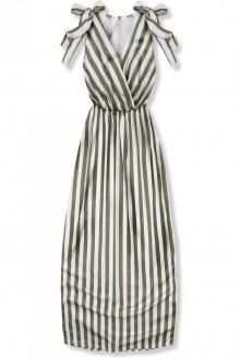 Khaki pruhované letní šaty