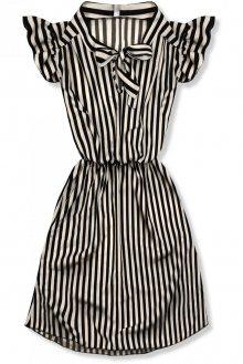 Bílo-černé pruhované šaty s mašlí