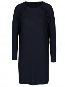 Tmavě modré svetrové šaty s volány ONLY New Maye