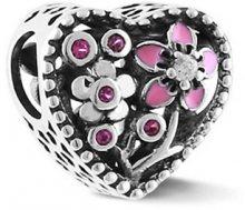 Infinity Love Romantický stříbrný korálek ve tvaru srdce HSZ-1156-D