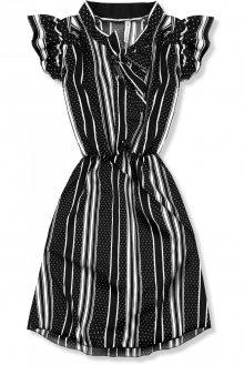 Černo-bílé pruhované šaty s mašlí