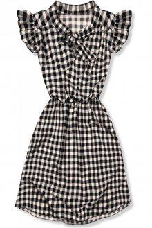 Černo-bílé kárované šaty s mašlí