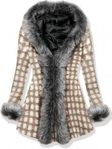 Hnědý vlněný oversized kabát s kožešinovým lemem