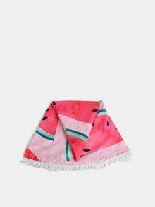 Růžová kulatá vzorovaná plážová deka Haily´s Watermelon