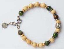 Green Time Náramek z dřevěných korálků a jadeitu ZWB219E