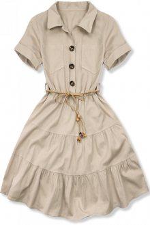 Košilové béžové šaty s pleteným páskem