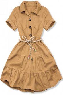 Košilové hnědé šaty s pleteným páskem