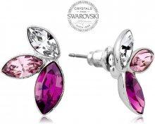 Levien Náušnice se třemi krystaly ve fialových odstínech Navette