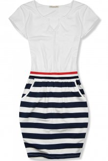 Bílé šaty s pruhovanou sukní X.