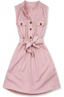 Růžové šaty se zapínáním