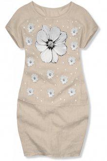 Béžové lněné šaty