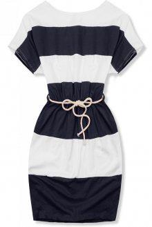Pruhované tmavo-modře-bílé šaty