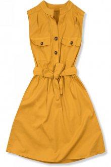 Mustard šaty se zapínáním