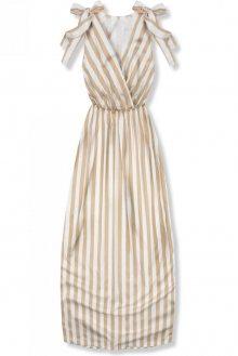 Béžové pruhované letní šaty